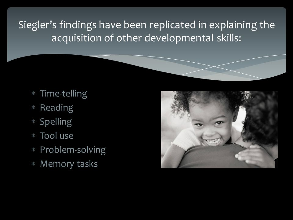  Time-telling  Reading  Spelling  Tool use  Problem-solving  Memory tasks Siegler's findings have been replicated in explaining the acquisition of other developmental skills: