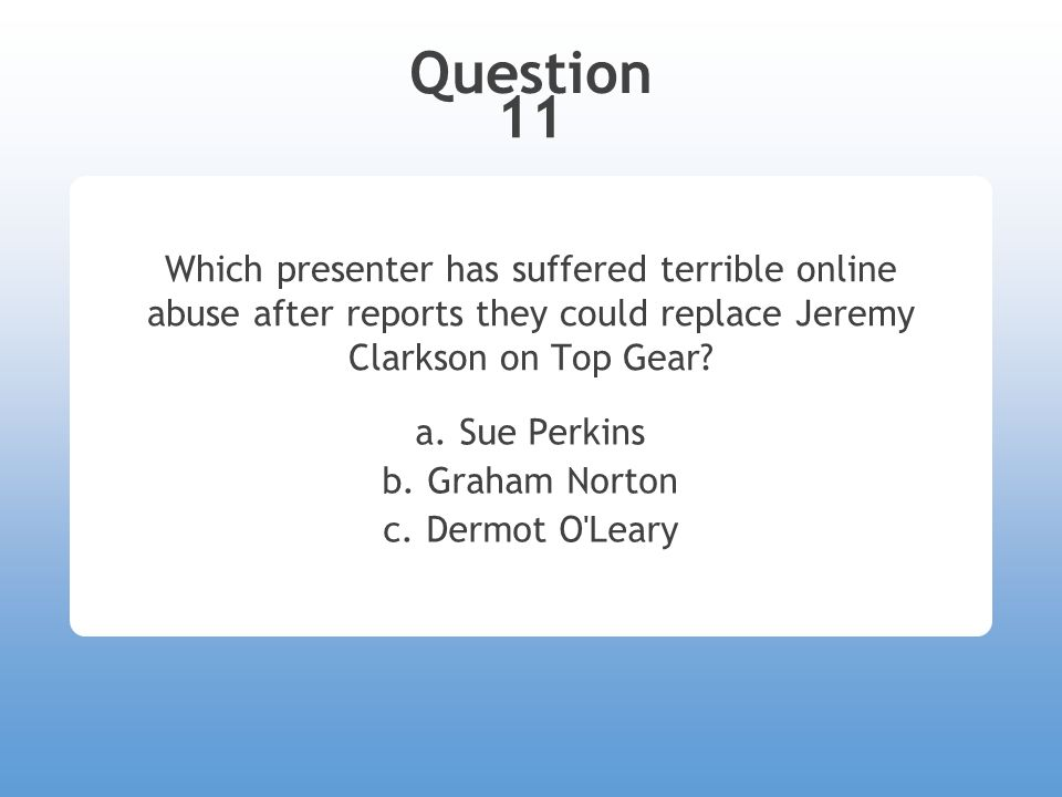 Question 11 Which presenter has suffered terrible online abuse after reports they could replace Jeremy Clarkson on Top Gear.