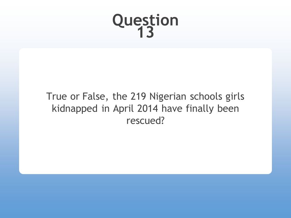 Question 13 True or False, the 219 Nigerian schools girls kidnapped in April 2014 have finally been rescued?