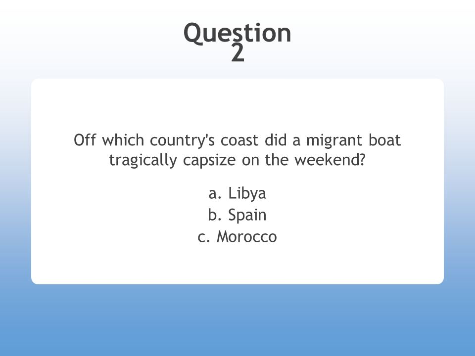 Question 2 Off which country s coast did a migrant boat tragically capsize on the weekend.