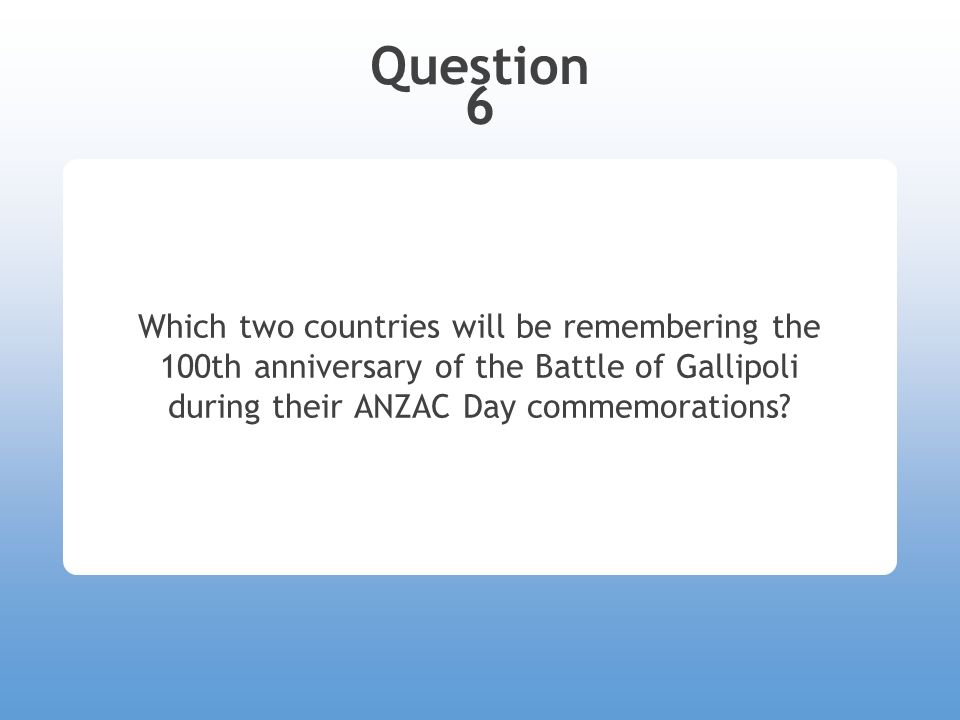Question 6 Which two countries will be remembering the 100th anniversary of the Battle of Gallipoli during their ANZAC Day commemorations?