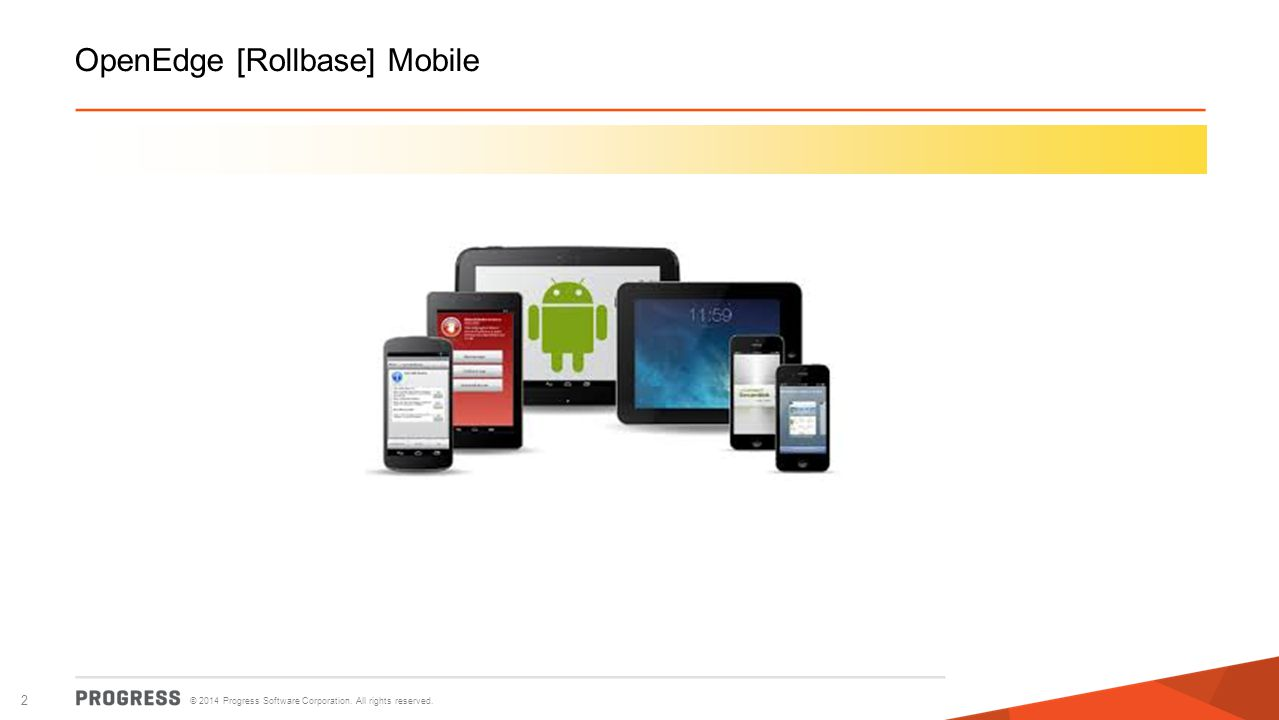 © 2014 Progress Software Corporation. All rights reserved. 2 OpenEdge [Rollbase] Mobile