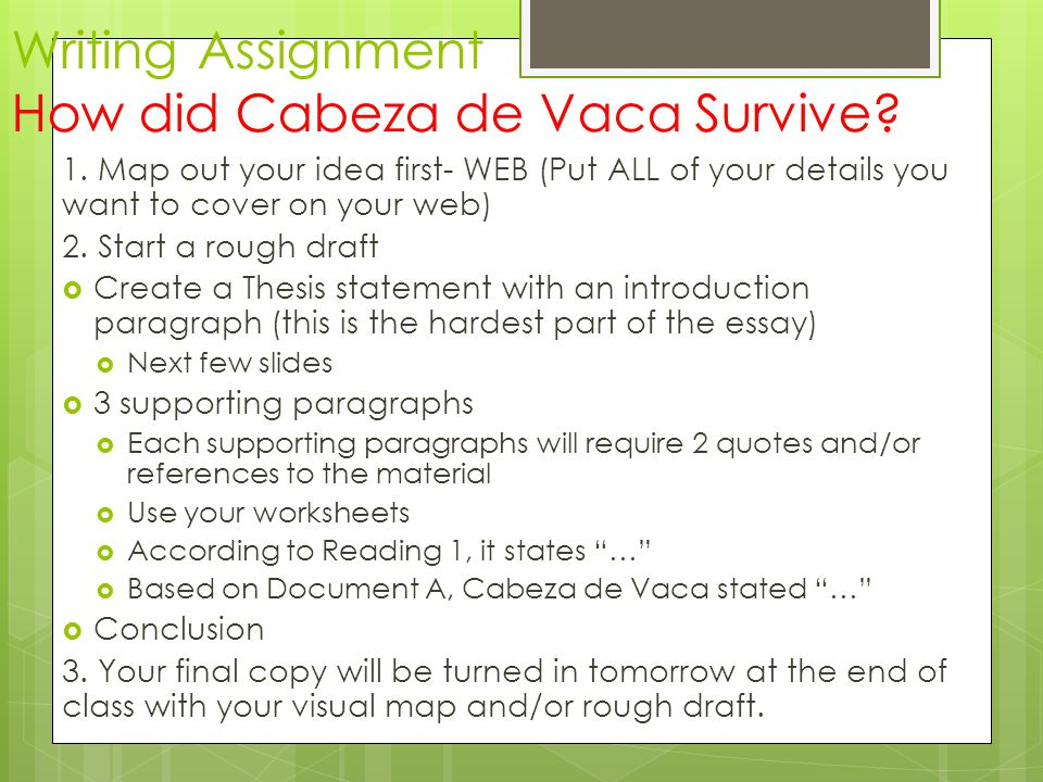 Writing Assignment How did Cabeza de Vaca Survive? 1. Map out your idea first- WEB (Put ALL of your details you want to cover on your web) 2. Start a