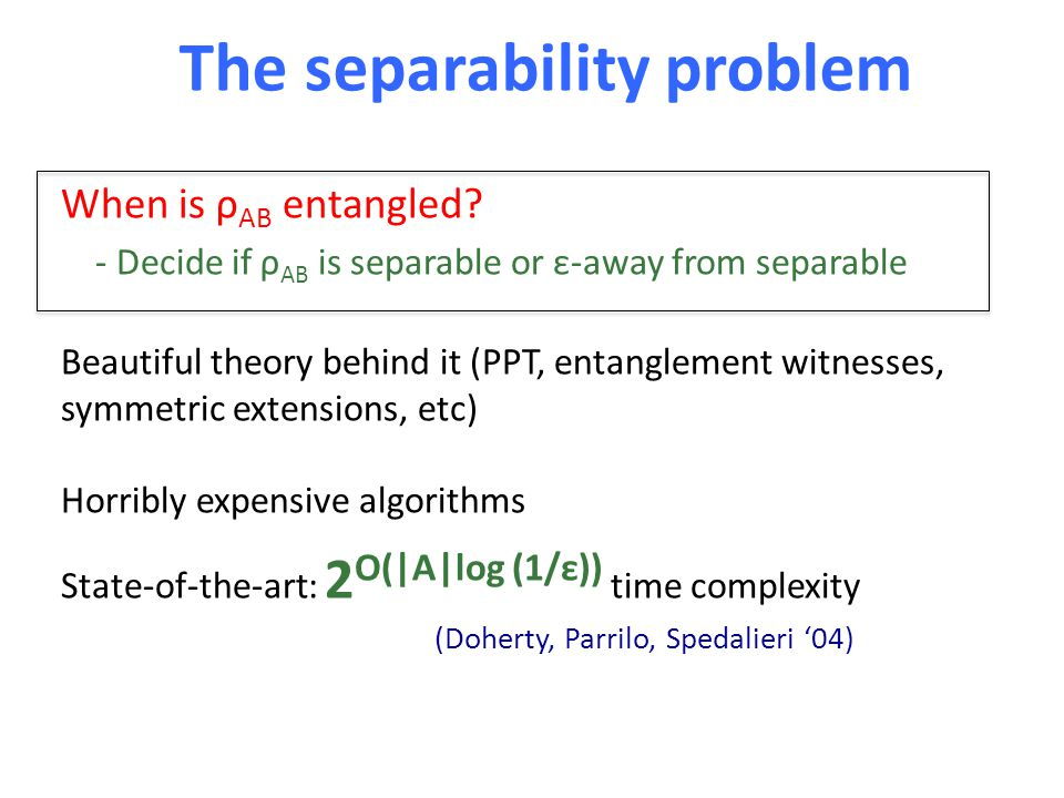 The separability problem When is ρ AB entangled? - Decide if ρ AB is separable or ε-away from separable Beautiful theory behind it (PPT, entanglement