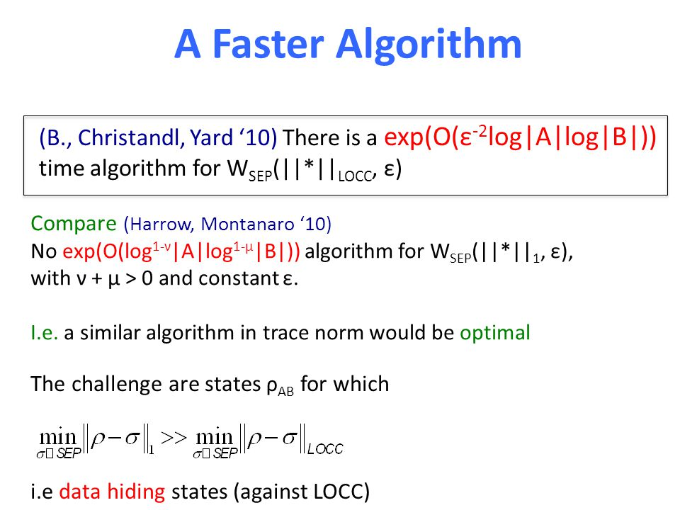 A Faster Algorithm (B., Christandl, Yard '10) There is a exp(O(ε -2 log|A|log|B|)) time algorithm for W SEP (||*|| LOCC, ε) Compare (Harrow, Montanaro '10) No exp(O(log 1-ν |A|log 1-μ |B|)) algorithm for W SEP (||*|| 1, ε), with ν + μ > 0 and constant ε.