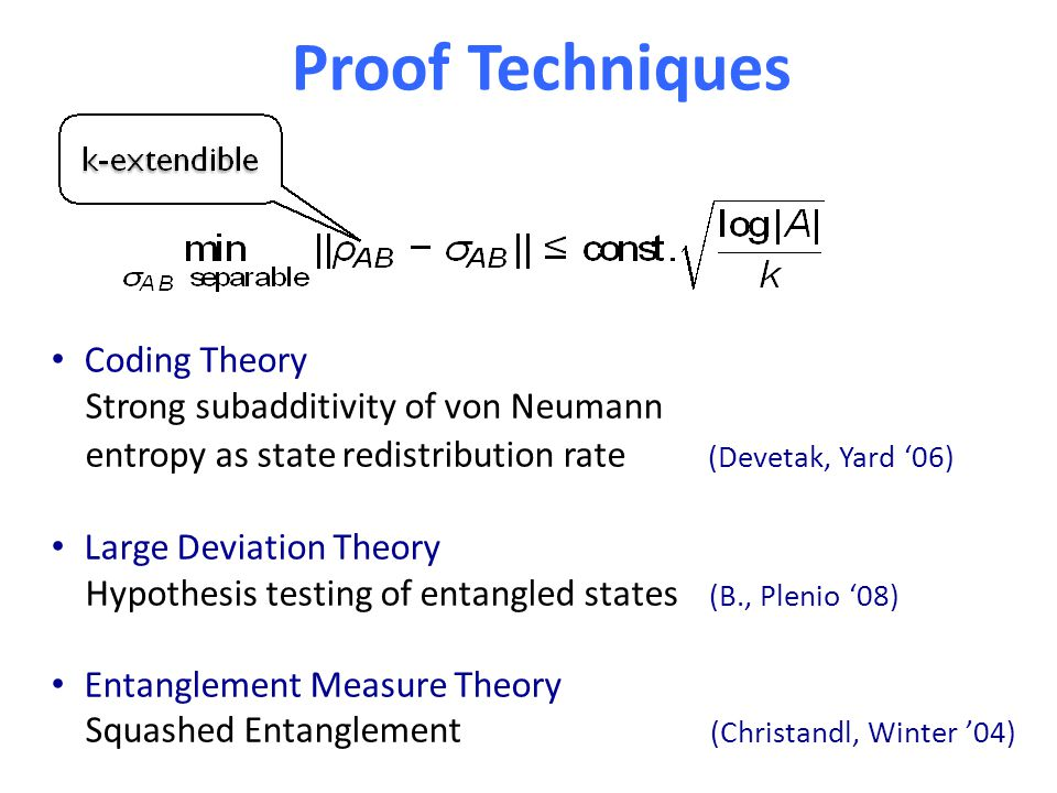 Proof Techniques Coding Theory Strong subadditivity of von Neumann entropy as state redistribution rate (Devetak, Yard '06) Large Deviation Theory Hypothesis testing of entangled states (B., Plenio '08) Entanglement Measure Theory Squashed Entanglement (Christandl, Winter '04)