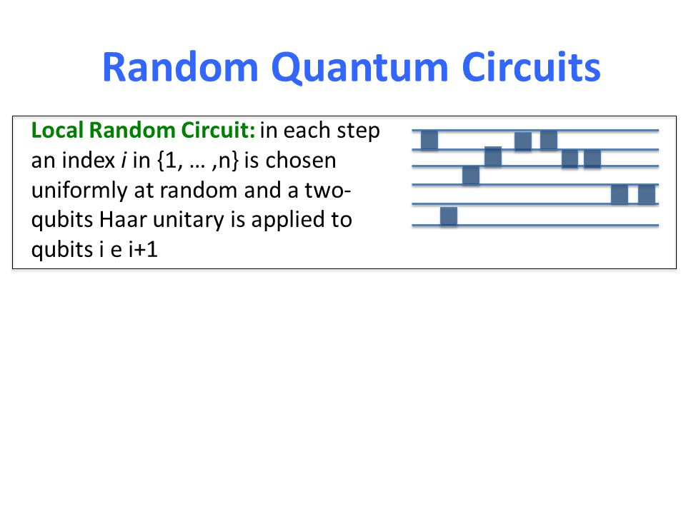 Random Quantum Circuits Local Random Circuit: in each step an index i in {1, …,n} is chosen uniformly at random and a two- qubits Haar unitary is applied to qubits i e i+1 Random Walk in U(2 n ) (Another example: Kac's random walk – toy model Boltzmann gas) Introduced in (Hayden and Preskill '07) as a toy model for the dynamics of a black hole (B., Horodecki '10) O(n 2 ) local random circuits are approximate unitary 3-designs