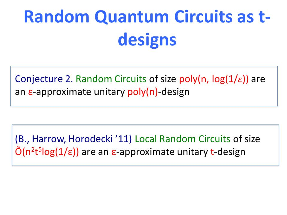 Random Quantum Circuits as t- designs Conjecture 2.