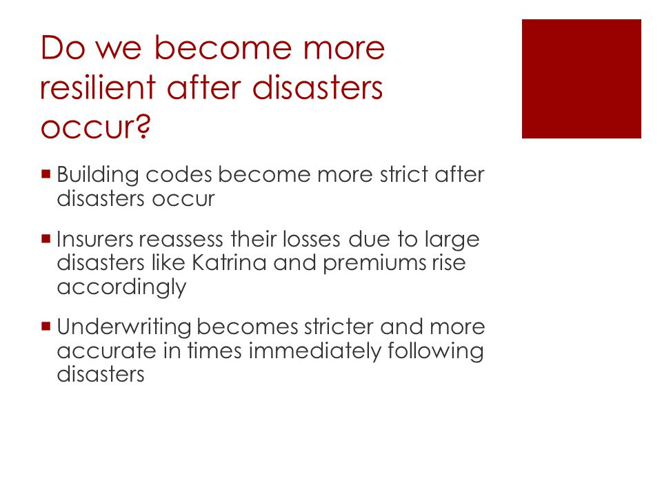 Do we become more resilient after disasters occur.