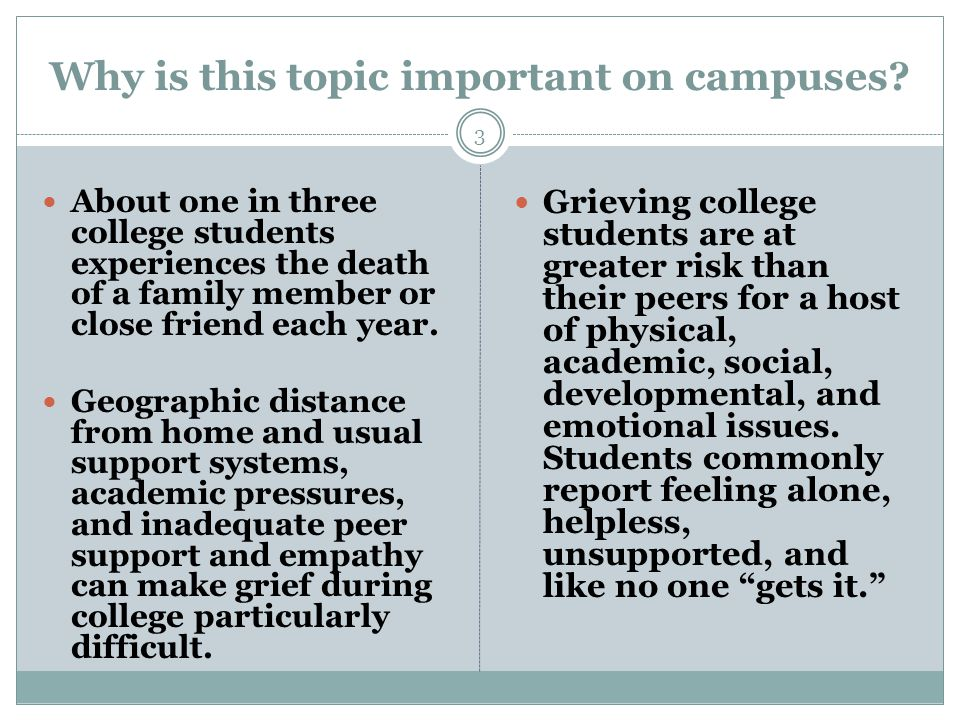 Why is this topic important on campuses.