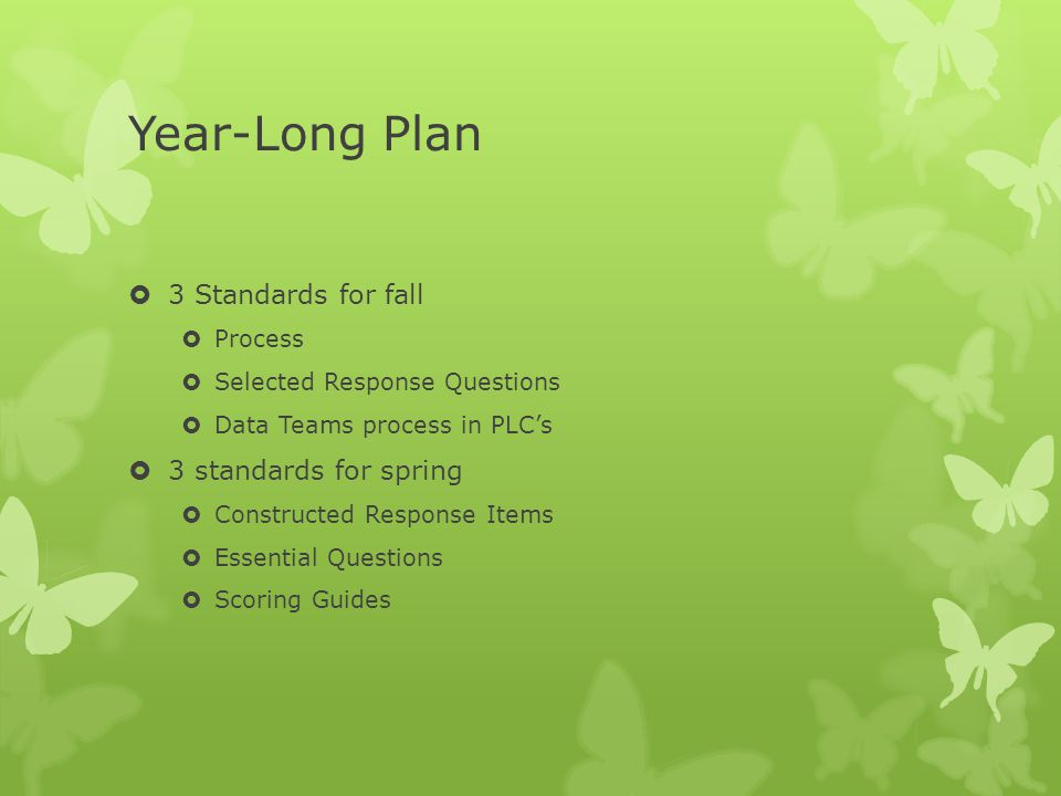 Year-Long Plan  3 Standards for fall  Process  Selected Response Questions  Data Teams process in PLC's  3 standards for spring  Constructed Response Items  Essential Questions  Scoring Guides