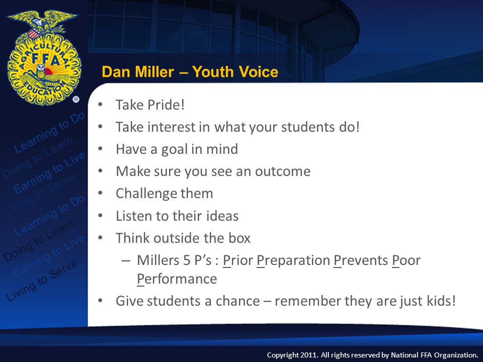 Copyright 2011. All rights reserved by National FFA Organization. Cycle of Youth Voice