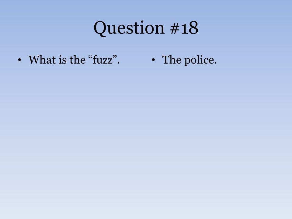 Question #18 What is the fuzz . The police.
