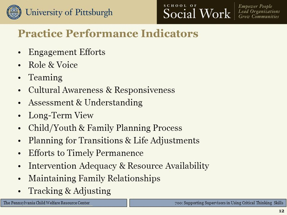 700: Supporting Supervisors in Using Critical Thinking Skills The Pennsylvania Child Welfare Resource Center Practice Performance Indicators Engagement Efforts Role & Voice Teaming Cultural Awareness & Responsiveness Assessment & Understanding Long-Term View Child/Youth & Family Planning Process Planning for Transitions & Life Adjustments Efforts to Timely Permanence Intervention Adequacy & Resource Availability Maintaining Family Relationships Tracking & Adjusting 12
