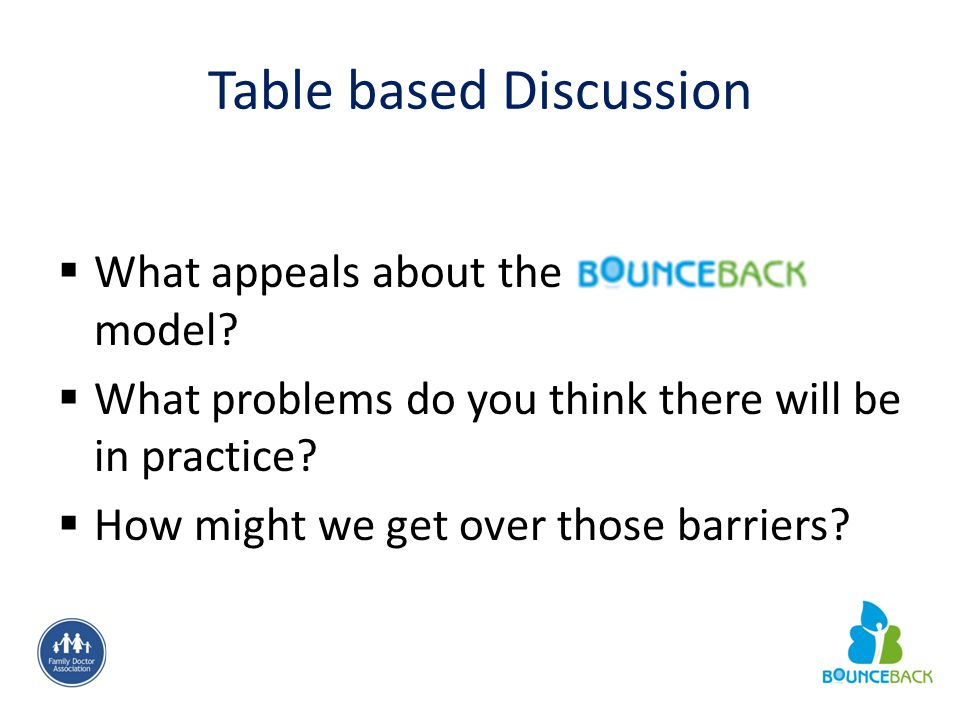 Table based Discussion  What appeals about the model?  What problems do you think there will be in practice?  How might we get over those barriers?