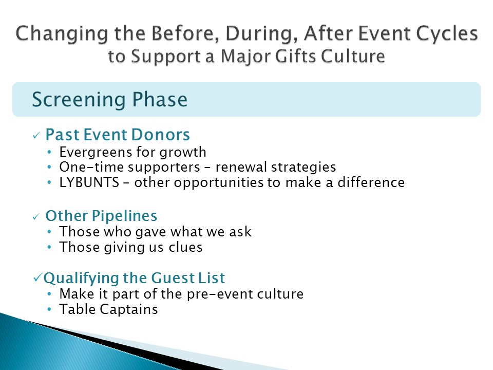 Screening Phase Past Event Donors Evergreens for growth One-time supporters – renewal strategies LYBUNTS – other opportunities to make a difference Ot
