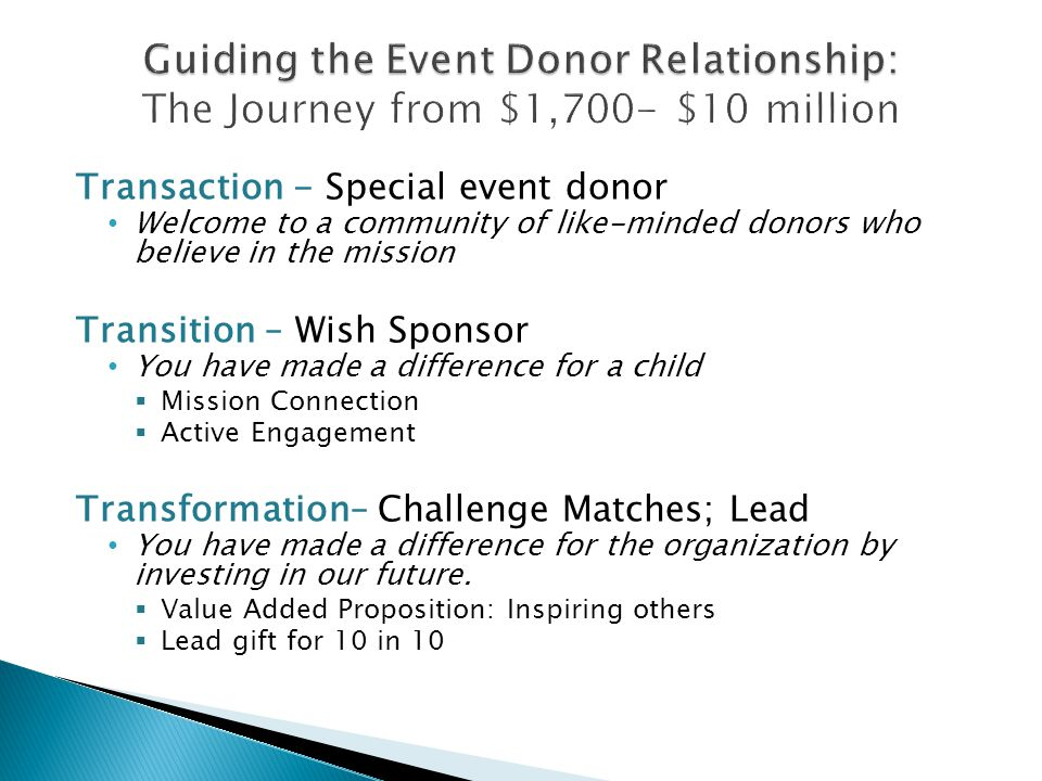 Transaction - Special event donor Welcome to a community of like-minded donors who believe in the mission Transition – Wish Sponsor You have made a difference for a child  Mission Connection  Active Engagement Transformation– Challenge Matches; Lead You have made a difference for the organization by investing in our future.