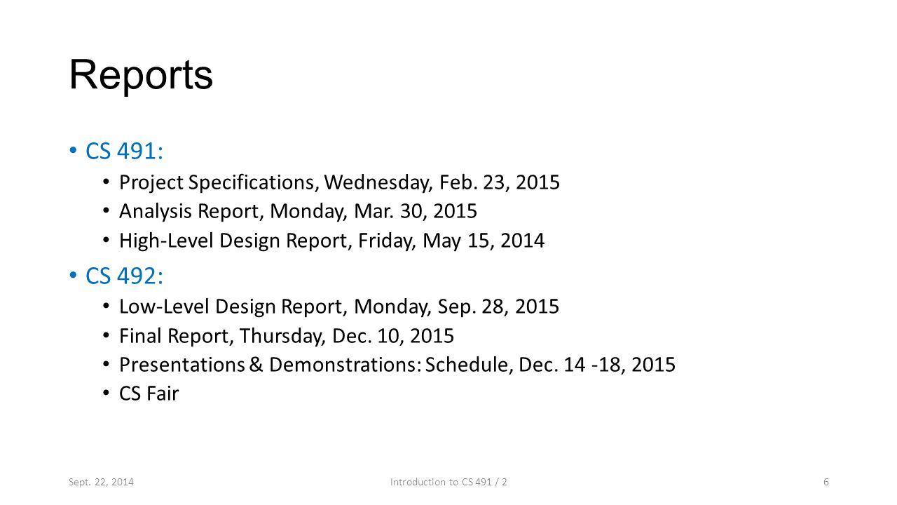 Reports CS 491: Project Specifications, Wednesday, Feb.