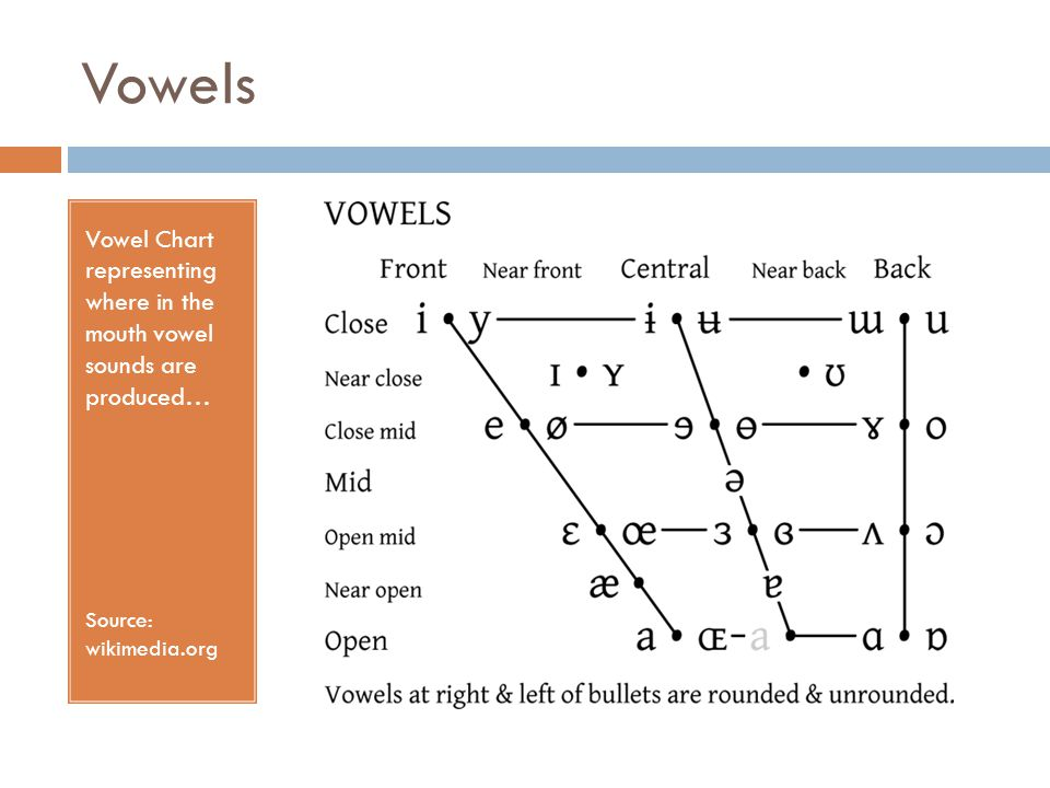 Vowels Vowel Chart representing where in the mouth vowel sounds are produced… Source: wikimedia.org
