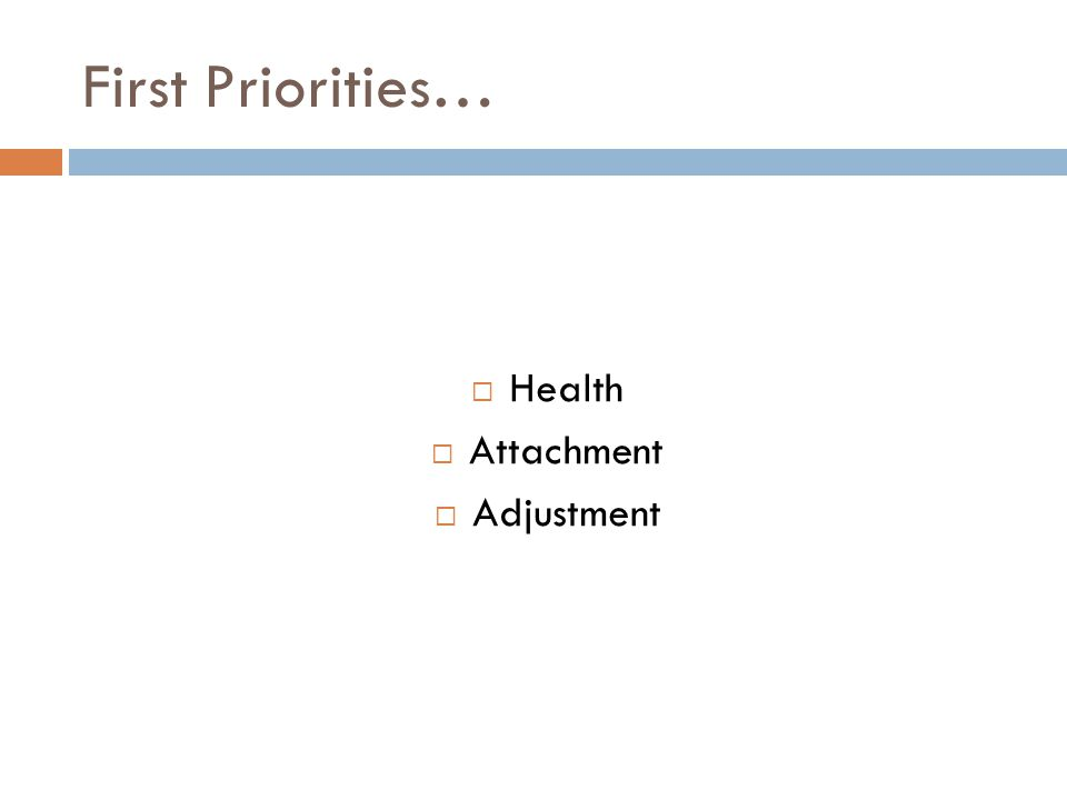 First Priorities…  Health  Attachment  Adjustment