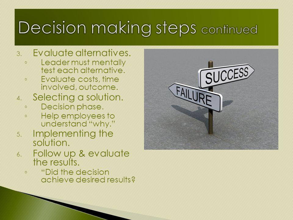3. Evaluate alternatives. ◦ Leader must mentally test each alternative.