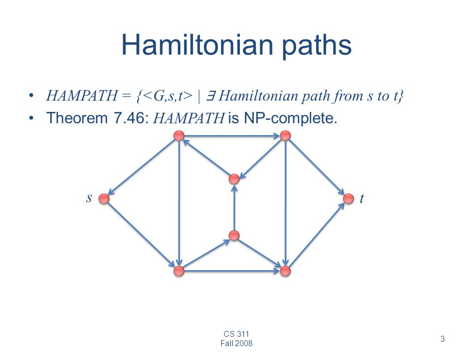 CS 311 Fall 2008 3 Hamiltonian paths HAMPATH = { | ∃ Hamiltonian path from s to t} Theorem 7.46: HAMPATH is NP-complete.