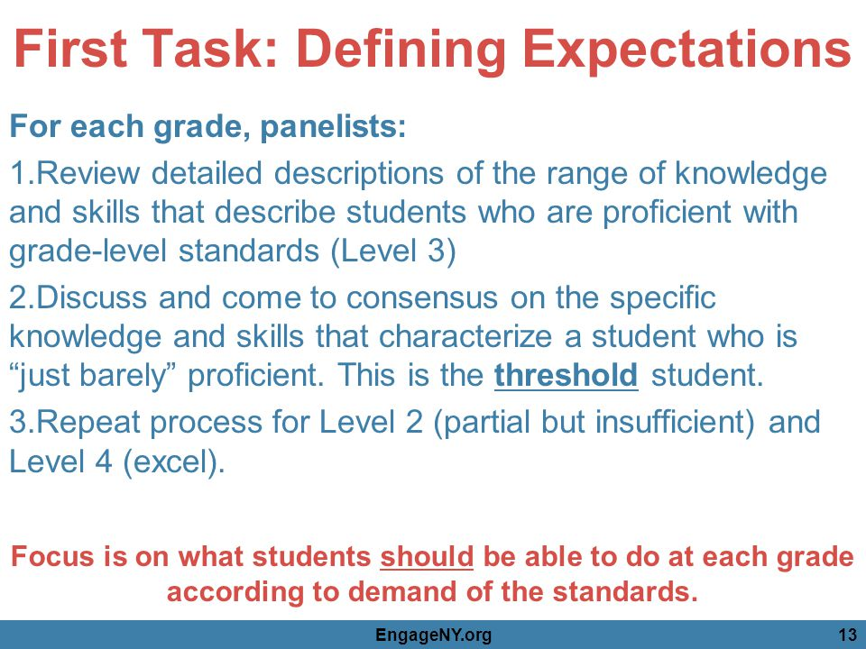 First Task: Defining Expectations For each grade, panelists: 1.Review detailed descriptions of the range of knowledge and skills that describe students who are proficient with grade-level standards (Level 3) 2.Discuss and come to consensus on the specific knowledge and skills that characterize a student who is just barely proficient.