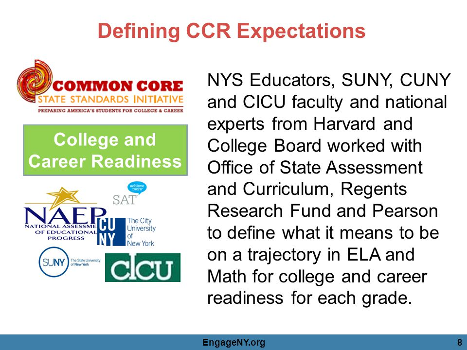 College and Career Readiness Defining CCR Expectations EngageNY.org8 NYS Educators, SUNY, CUNY and CICU faculty and national experts from Harvard and College Board worked with Office of State Assessment and Curriculum, Regents Research Fund and Pearson to define what it means to be on a trajectory in ELA and Math for college and career readiness for each grade.