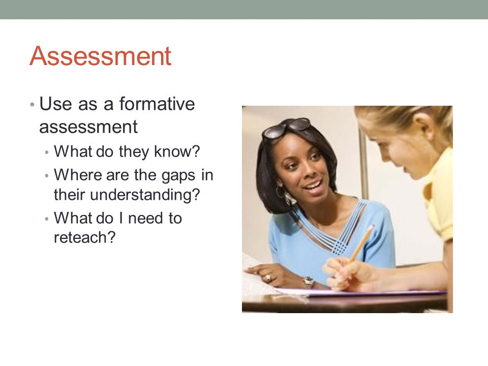 Assessment Use as a formative assessment What do they know.