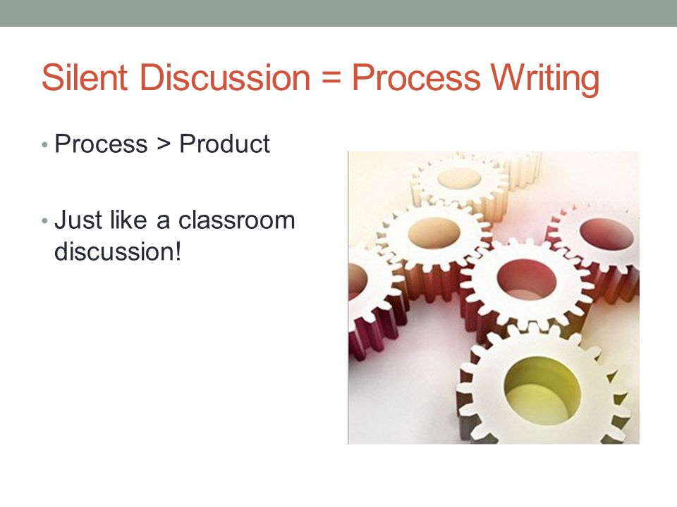 Silent Discussion = Process Writing Process > Product Just like a classroom discussion!