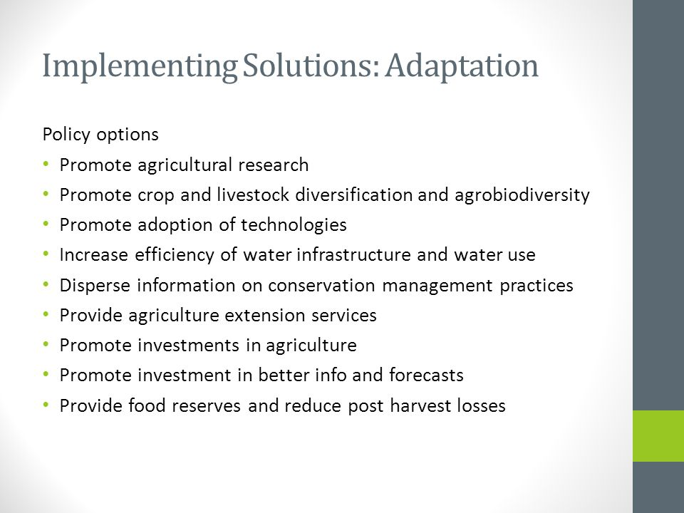 Implementing Solutions: Adaptation Policy options Promote agricultural research Promote crop and livestock diversification and agrobiodiversity Promot