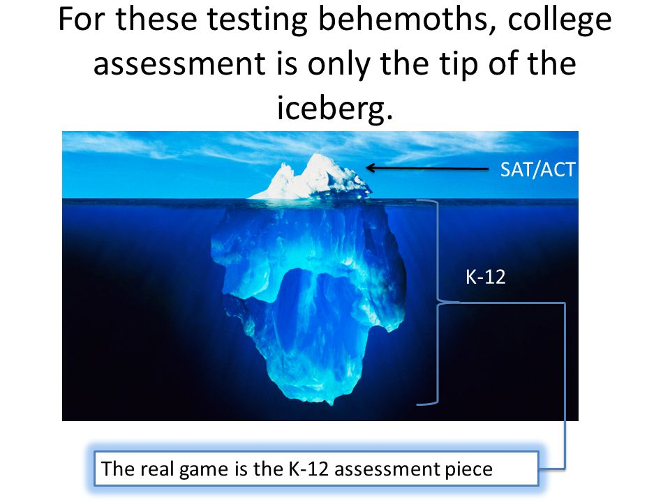 For these testing behemoths, college assessment is only the tip of the iceberg.