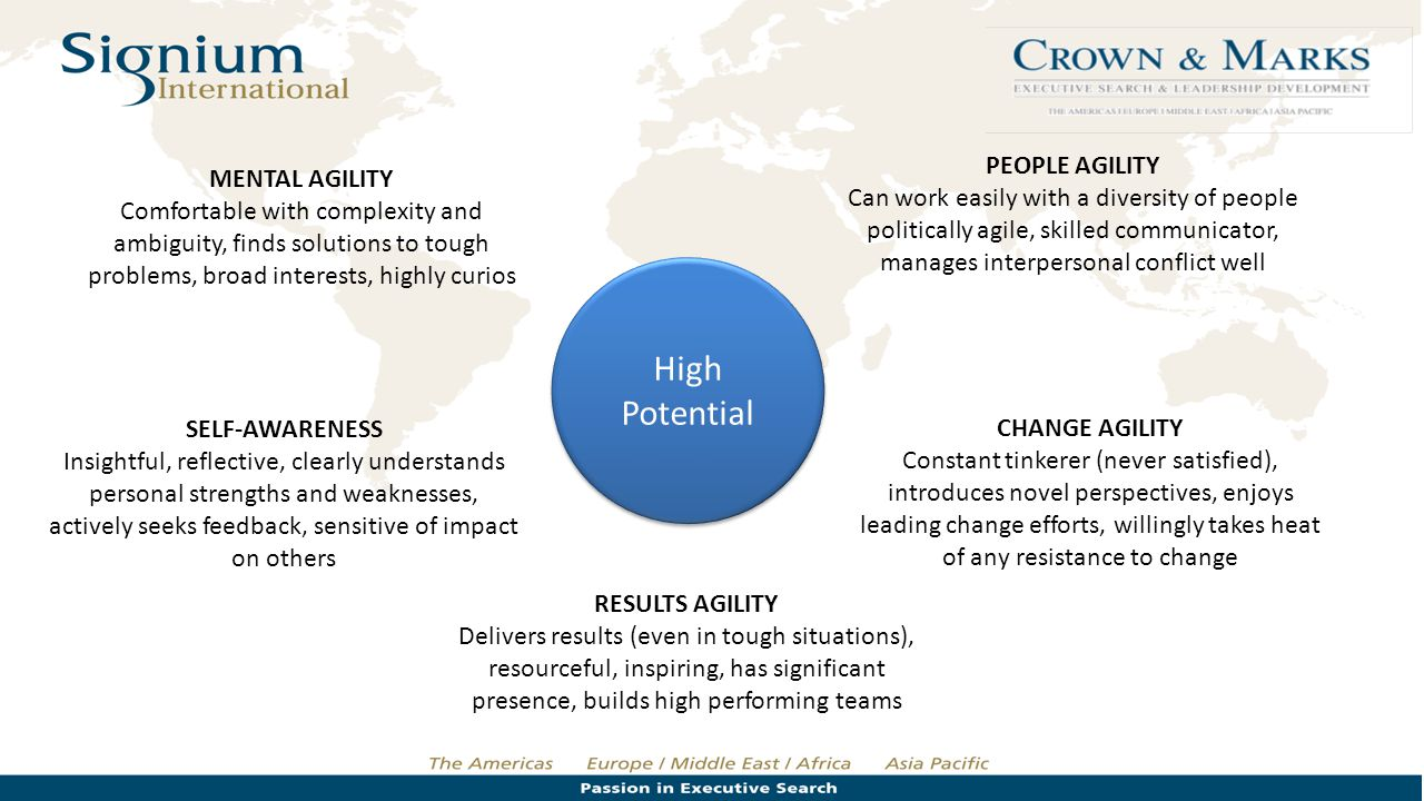 High Potential PEOPLE AGILITY Can work easily with a diversity of people politically agile, skilled communicator, manages interpersonal conflict well