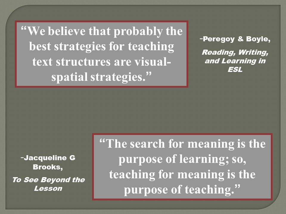 We believe that probably the best strategies for teaching text structures are visual- spatial strategies. The search for meaning is the purpose of learning; so, teaching for meaning is the purpose of teaching. - Jacqueline G Brooks, To See Beyond the Lesson - Peregoy & Boyle, Reading, Writing, and Learning in ESL
