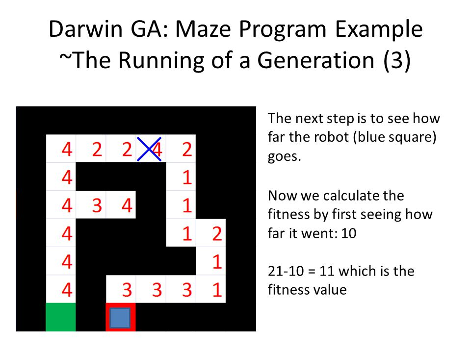 Darwin GA: Maze Program Example ~The Running of a Generation (3) The next step is to see how far the robot (blue square) goes. Now we calculate the fi