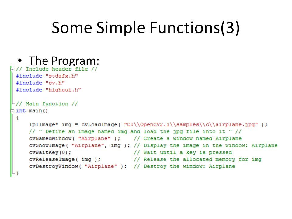 Some Simple Functions(3) The Program:
