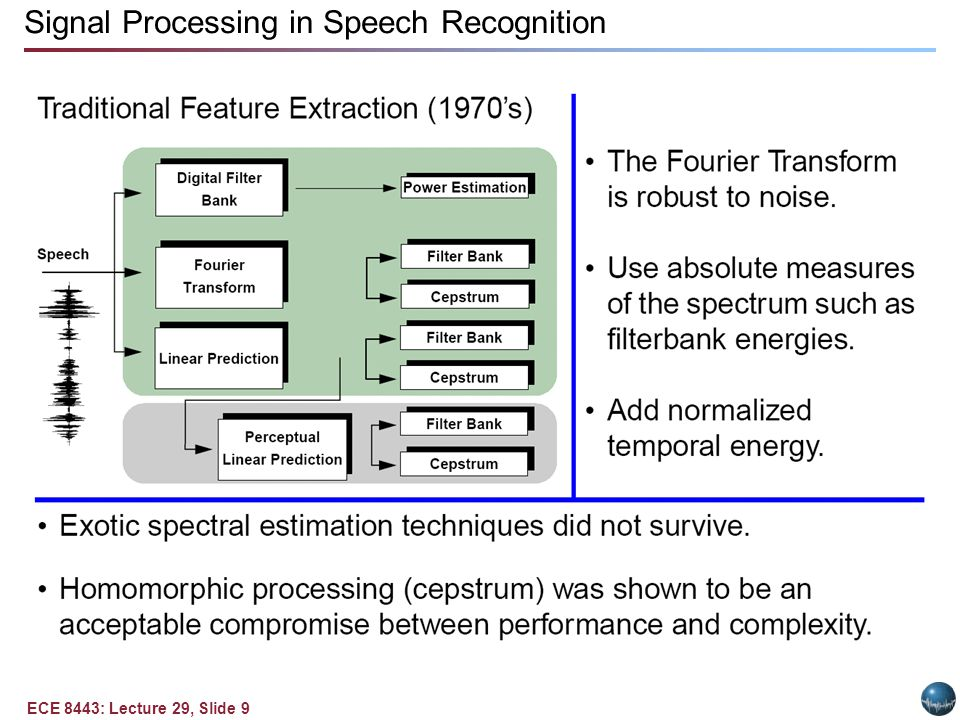 ECE 8443: Lecture 29, Slide 9 Signal Processing in Speech Recognition