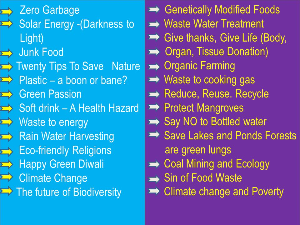 Zero Garbage Solar Energy -(Darkness to Light) Junk Food Twenty Tips To Save Nature Plastic – a boon or bane.