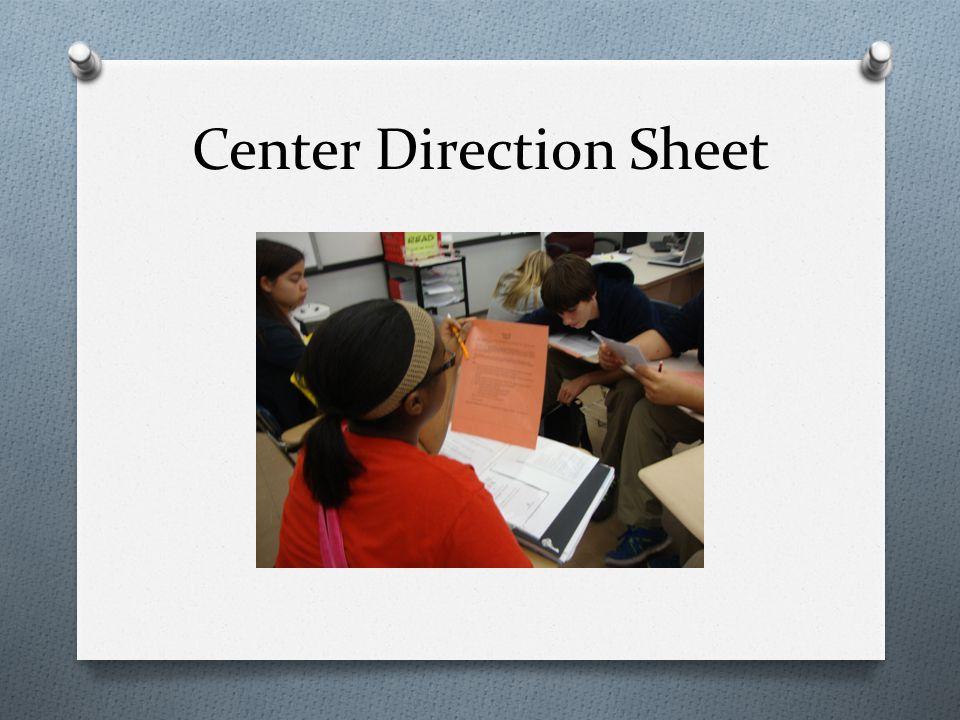 Center Direction Sheet