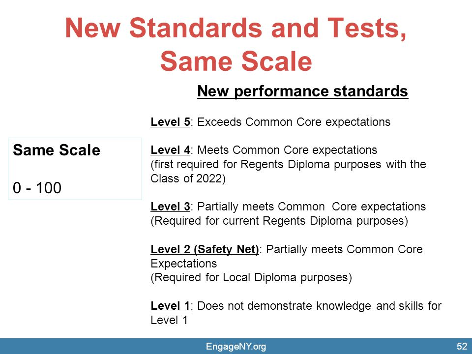 New Standards and Tests, Same Scale EngageNY.org52 New performance standards Level 5: Exceeds Common Core expectations Level 4: Meets Common Core expe