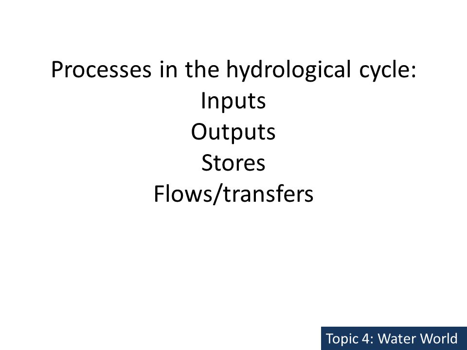 Processes in the hydrological cycle: Inputs Outputs Stores Flows/transfers Topic 4: Water World
