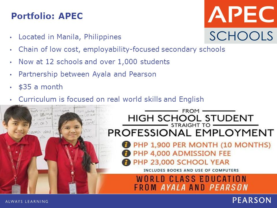 Portfolio: APEC Located in Manila, Philippines Chain of low cost, employability-focused secondary schools Now at 12 schools and over 1,000 students Partnership between Ayala and Pearson $35 a month Curriculum is focused on real world skills and English literacy