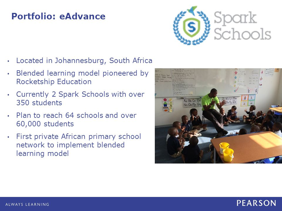 Portfolio: eAdvance Located in Johannesburg, South Africa Blended learning model pioneered by Rocketship Education Currently 2 Spark Schools with over 350 students Plan to reach 64 schools and over 60,000 students First private African primary school network to implement blended learning model