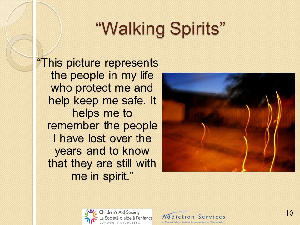"""""""Walking Spirits"""" """"This picture represents the people in my life who protect me and help keep me safe. It helps me to remember the people I have lost"""