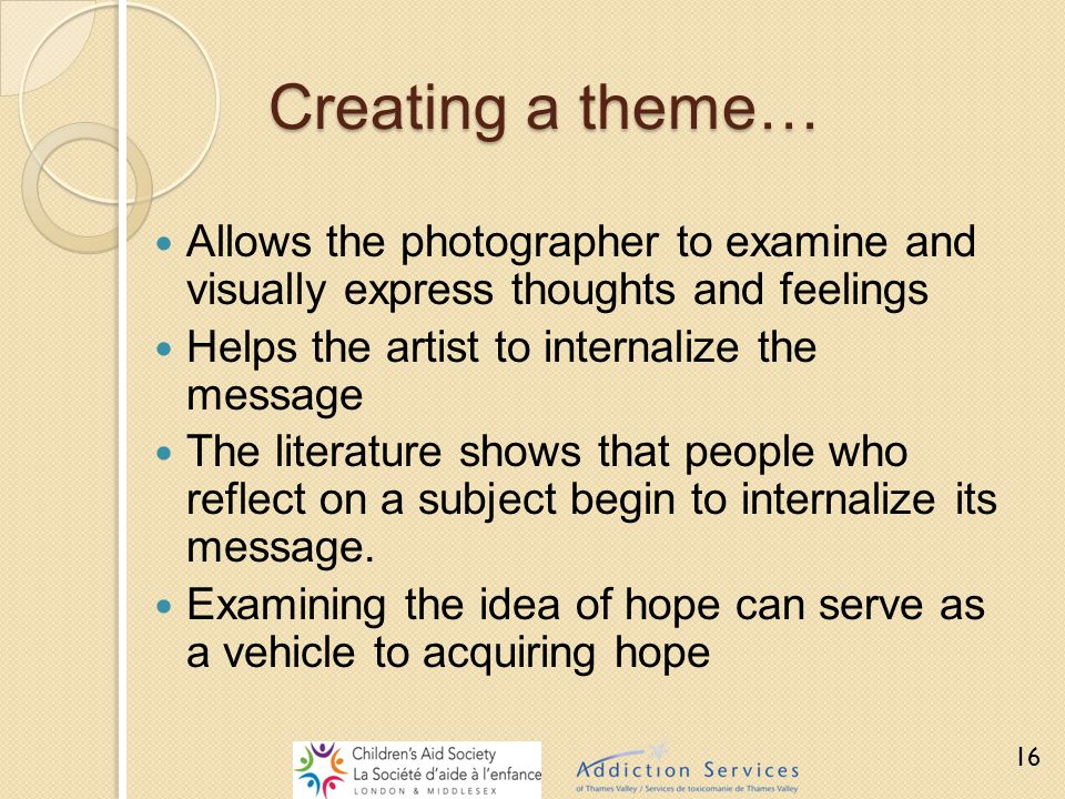 Creating a theme… Allows the photographer to examine and visually express thoughts and feelings Helps the artist to internalize the message The litera