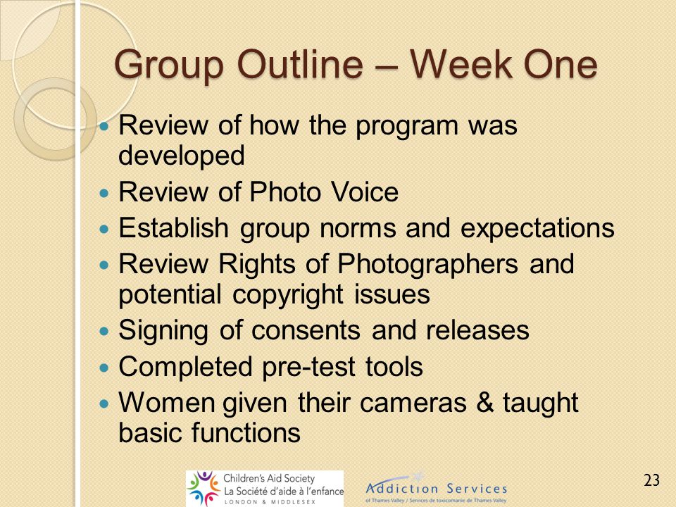 Group Outline – Week One Review of how the program was developed Review of Photo Voice Establish group norms and expectations Review Rights of Photogr