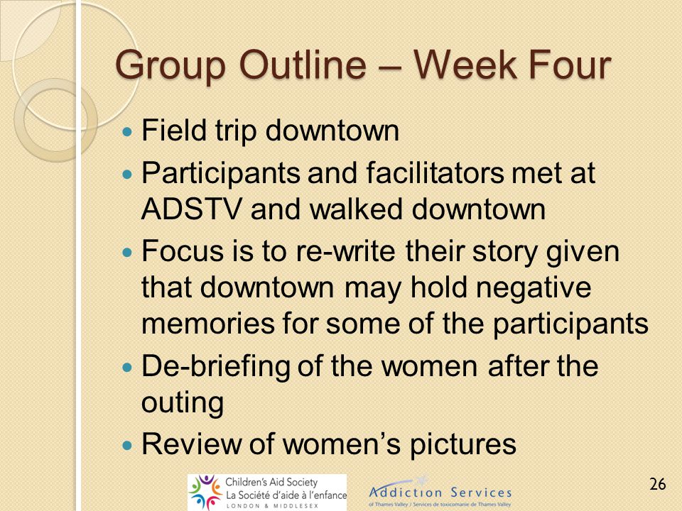 Group Outline – Week Four Field trip downtown Participants and facilitators met at ADSTV and walked downtown Focus is to re-write their story given th