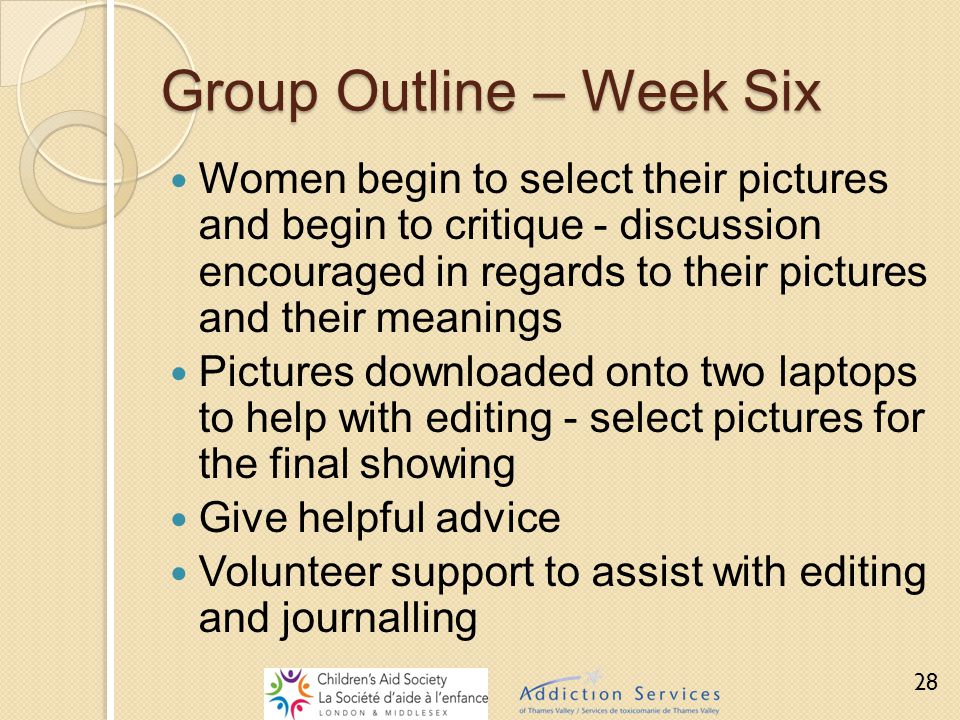 Group Outline – Week Six Women begin to select their pictures and begin to critique - discussion encouraged in regards to their pictures and their mea
