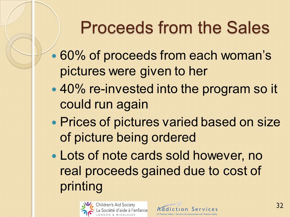 Proceeds from the Sales 60% of proceeds from each woman's pictures were given to her 40% re-invested into the program so it could run again Prices of
