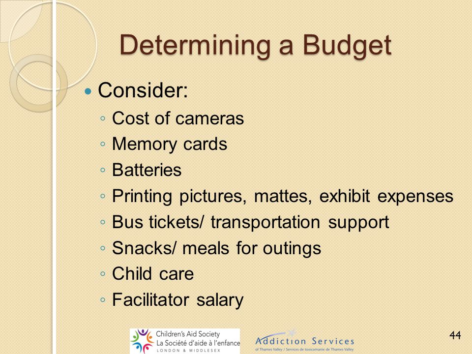 Determining a Budget Consider: ◦ Cost of cameras ◦ Memory cards ◦ Batteries ◦ Printing pictures, mattes, exhibit expenses ◦ Bus tickets/ transportatio